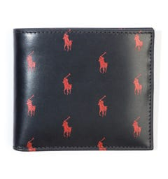Polo Ralph Lauren Signature Pony Leather Wallet - Black & Red