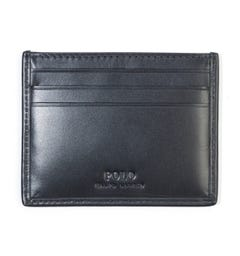 Polo Ralph Lauren Signature Pony Leather Card Holder - Black & Red