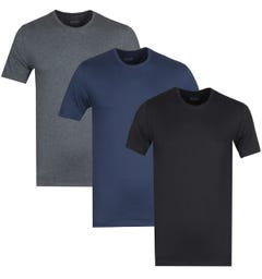 BOSS Bodywear 3 Pack Black, Navy & Grey Crew Neck T-Shirts