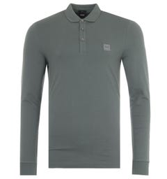 BOSS Passerby Slim Fit Long Sleeve Polo Shirt - Green Grey