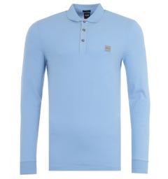 BOSS Passerby Slim Fit Long Sleeve Polo Shirt - Pale Blue