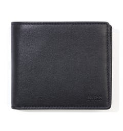 BOSS Majestic Coin Pocket Leather Wallet - Black