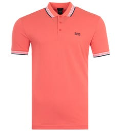 BOSS Paddy Tipped Pique Cotton Polo Shirt - Coral Pink