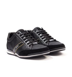 BOSS Saturn Leather Mesh Trainers - Black