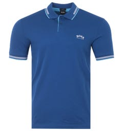 BOSS Paul Curved Slim Fit Twin Tipped Polo Shirt - Blue