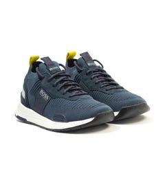 BOSS Titanium Sustainable Knitted Sock Trainers - Navy