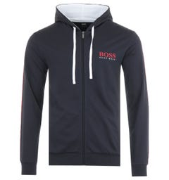 BOSS Bodywear Authentic Sustainable French Terry Zip Hooded Sweatshirt - Navy