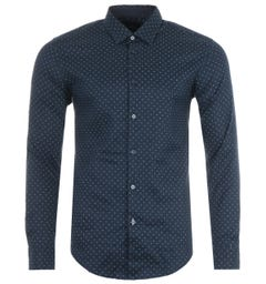 BOSS Ronni Patterned Stretch Linen Slim Fit Shirt - Navy