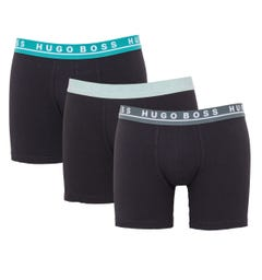 BOSS Bodywear 3 Pack Sustainable Stretch Cotton Boxer Briefs - Black