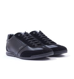 BOSS Saturn Leather & Suede Trainers - Black
