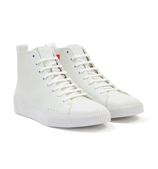 HUGO Zero Grained Leather High Top Trainers - White