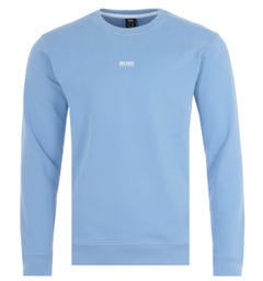 BOSS Central Logo Sustainable French Terry Sweatshirt - Pale Blue