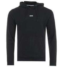 BOSS Central Logo Sustainable French Terry Hooded Sweatshirt - Black