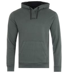 BOSS Central Logo Sustainable French Terry Hooded Sweatshirt - Green