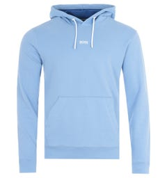 BOSS Central Logo Sustainable French Terry Hooded Sweatshirt - Pale Blue