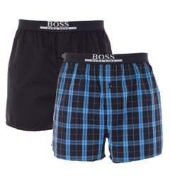 BOSS Bodywear 2 Pack Sustainable Cotton Woven Boxers - Black & Blue Check