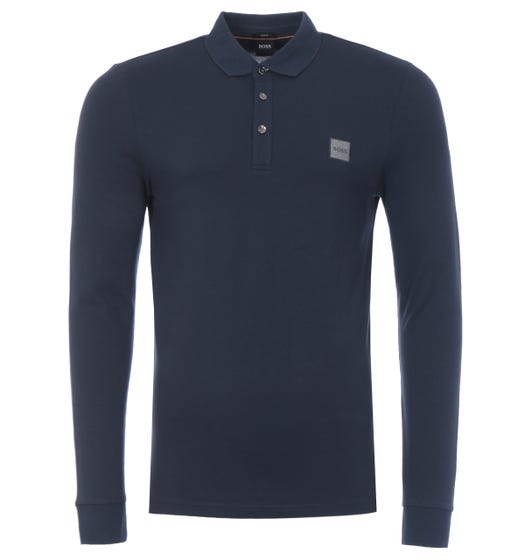 BOSS Passerby Slim Fit Long Sleeve Polo Shirt - Navy