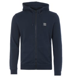 BOSS Logo Patch Relaxed Fit Zip Hooded Sweatshirt - Navy