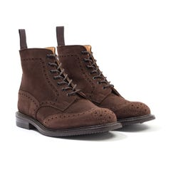 Tricker's Stow Repello Suede Brogue Boots - Cafe