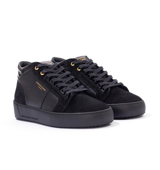 Android Homme Propulsion Mid Caiman Croc Leather Trainers - Black