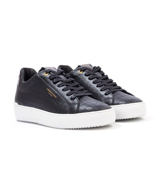 Android Homme Zumma Caiman Croc Leather Trainers - Black