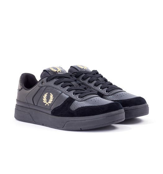 Fred Perry B300 Embossed Leather Trainers - Black