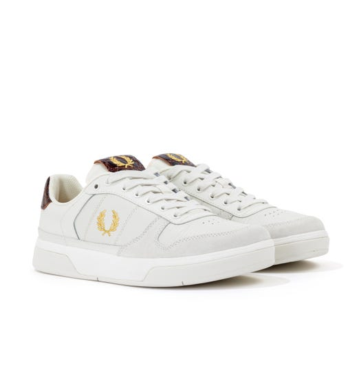 Fred Perry B300 Embossed Leather Trainers - Porcelain