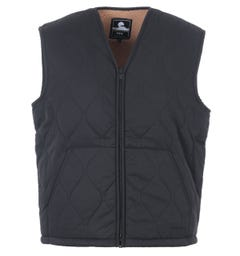 Edwin Camper Shearling Lined Quilted Vest - Black