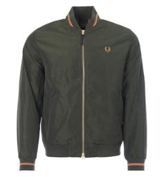 Fred Perry Sateen Tennis Bomber Jacket - Hunting Green