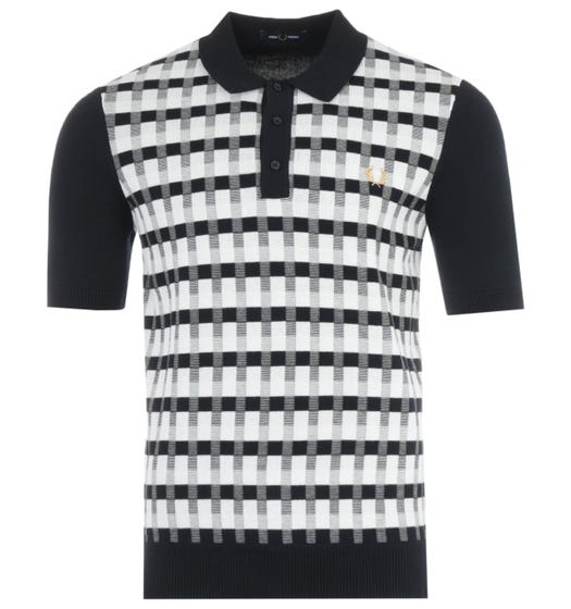Fred Perry Abstract Check Knitted Polo Shirt - Navy
