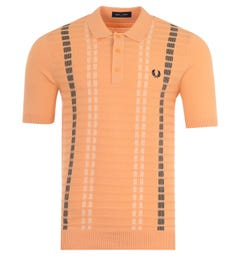 Fred Perry Broken Stripe Knitted Polo Shirt - Light Coral