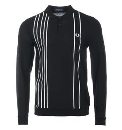 Fred Perry Striped Refined Piqué Long Sleeve Polo Shirt - Black