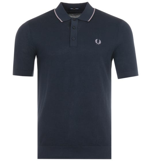 Fred Perry Tipped Knitted Polo Shirt - Dark Airforce