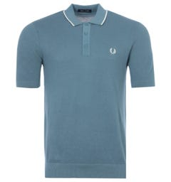 Fred Perry Tipped Knitted Polo Shirt - Ash Blue