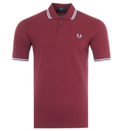 Fred Perry Made In England M12 Twin Tipped Polo Shirt - Maroon, White & Ice