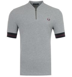 Fred Perry Tipped Cuff Zip Neck Polo Shirt - Steel Marl