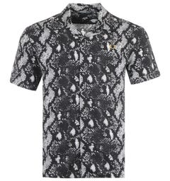 Fred Perry Snake Print Short Sleeve Shirt - Black