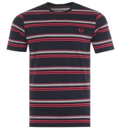 Fred Perry Striped Crew Neck T-Shirt - Navy