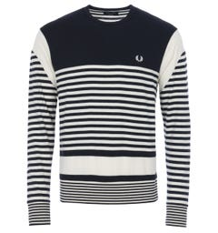 Fred Perry Reissues Stripe Long Sleeve T-Shirt - Navy