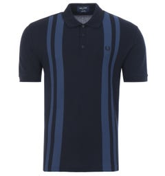 Fred Perry Reissues Contrast Stripe Polo Shirt - Navy