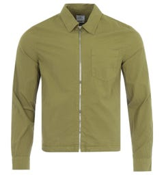 PS Paul Smith Crinkle Stretch Cotton Zip Overshirt - Olive