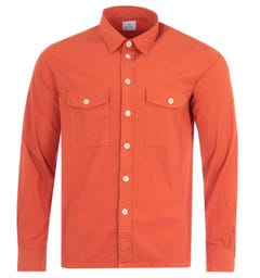 PS Paul Smith Crinkled Stretch Cotton Patch Pocket Shirt - Orange
