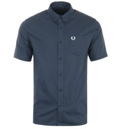 Fred Perry Oxford Short Sleeve Shirt - Airforce Blue