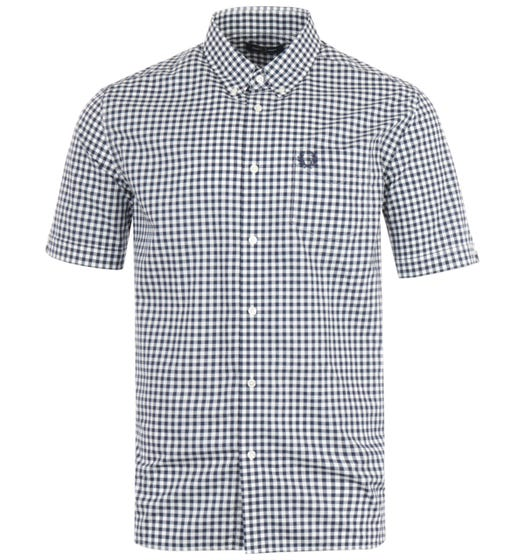 Fred Perry Gingham Short Sleeve Shirt - Carbon Blue
