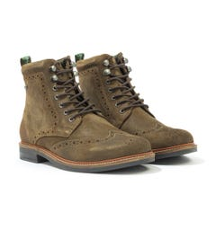 Barbour Seaton Brogue Boots - Olive