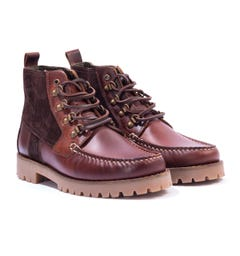 Barbour Topsail Leather & Suede Boots - Mahogany