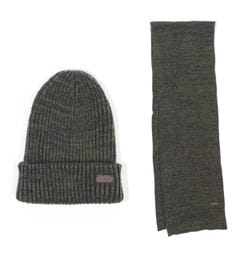 Barbour Crimdon Beanie & Scarf Gift Box Set - Olive