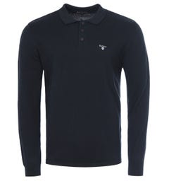 Barbour Cotton Cashmere Long Sleeve Polo Shirt - Navy