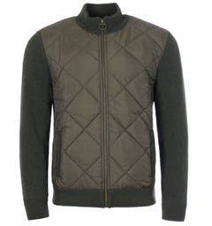 Barbour Arch Wool Diamond Quilted Zip Sweater - Olive