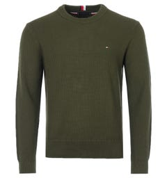 Tommy Hilfiger Exaggerated Textured Organic Cotton Sweater - Olivewood